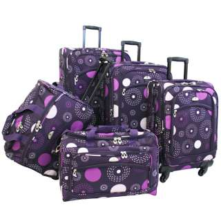 American Flyer Fireworks 5 Piece Spinner Luggage Set   Purple