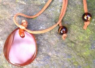 Big Carnelian Crystal Gemstone Necklace Reiki Empowered