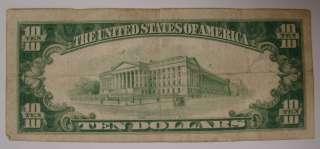 1928 $10 Ten Dollar Bill Gold Certificate Yellow Seal