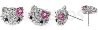 Swarovski Crystal Hello Kitty Stud Earrings Pink Flower