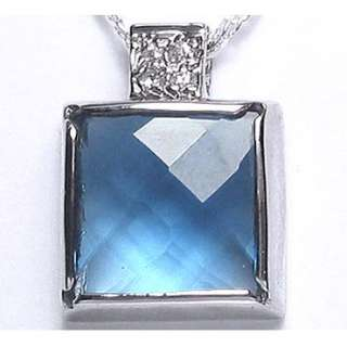 Wedding Jewelry AQUAMARINE Stone 925 STERLING SILVER PENDANT NECKLACE