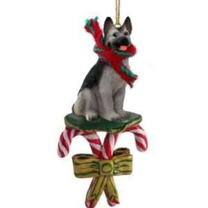 Candy Cane Black And Silver German Shepherd Dog Christmas