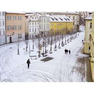 Snow Covering Na Kampe Square, Kampa Island, Mala Strana