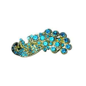 Rhinestone Peacock Hair Clip   Turquoise Blue Beauty