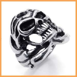 Vinstage Silver Tone Stainless Steel Twisted Ring Mens