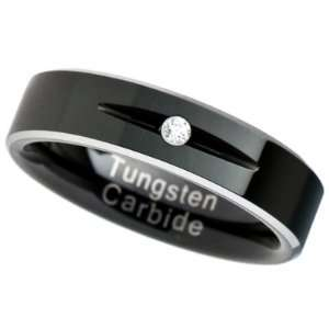 6MM Tungsten Carbide Ring Wedding Band Two Tone Black Plated Solitaire