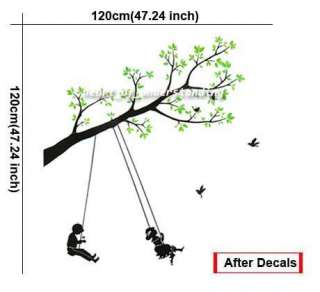 Swing Children Green Tree Bird Art Mural Wall Decal Sticker Vinyl Home