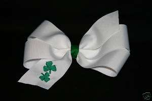 Embroidered Hair Bow Monogrammed St. Patricks Day