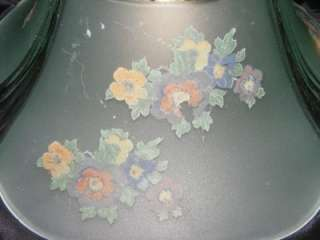 Iron Hanging Pendant Light Fixture w/ Floral Design Glass Shade