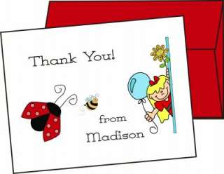 Personalized LADYBUG Thank You Note Cards