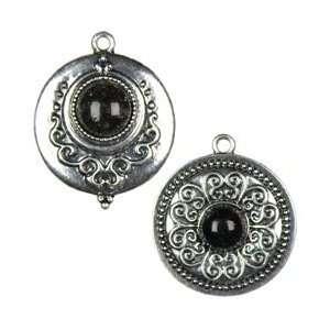 Cousin Jewelry Basics Metal Accents 2/Pkg Silver/Black