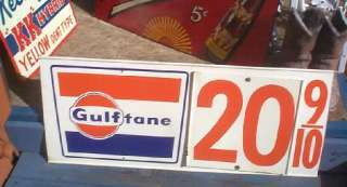 Gulftane Gulf Price Sign Oil Gasoline Pump Gas service station