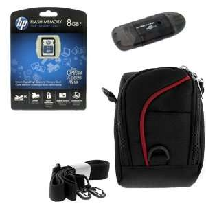 Card Reader + Black with Red Strip Camera Pouch Case for Nikon Coolpix