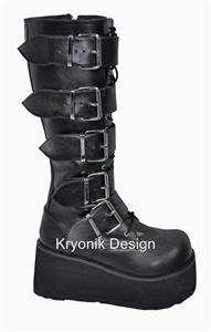 Demonia boots Trashville 518 goth cyber black women 8