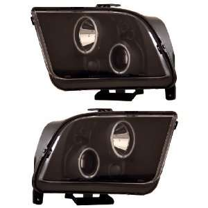 FORD MUSTANG 05 09 PROJECTOR HEADLIGHT HALO BLACK CLEAR