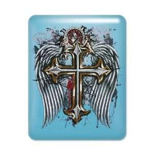 iPad Case Light Blue Cross Angel Wings