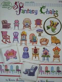 50 FANTASY CHAIRS, Cross Stitch Book, 50 Designs, NEW