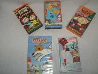 Lot of 5 Childrens Christmas VHS Movies Frosty, Blues Clues, Rugrats