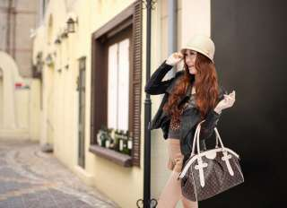 Fashion Korean Lady Tote Bag Women PU Leather Handbag Shoulder Bag J