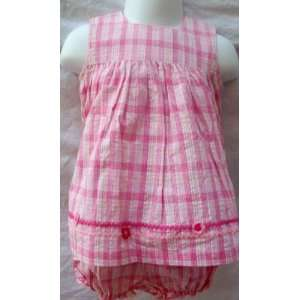 Girl 6 Months, Play Wear, Pink and White Plaid, 2 Piece Summer Dress