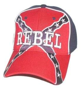 REBEL/CONFEDERATE FLAG BALL CAP HAT   EMBROIDERED