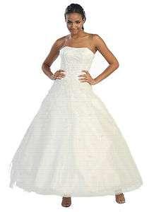 Long Strapless Wedding Dress Bridesmaid Ball Gown XS S M L XL 1XL 2XL