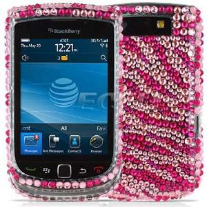 NEW PINK STRIPES CRYSTAL BLING CASE FOR BLACKBERRY 9800 Electronics