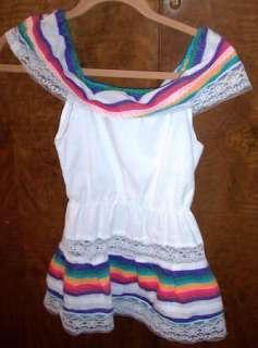 SWEET MEXICAN BOHO HIPPIE GIRLs DRESS SMALL~FIESTA CLR