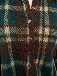 Vintage 50s Blue Green+Brown PLAID Cardigan Sweater M L
