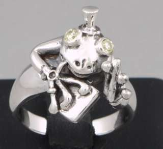 SMOKER DRINKER FUNNY FROG 925 STERLING SILVER WOMENS RING SIZE US 5 EU