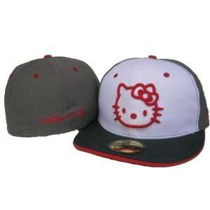 Grey/White New Era Hello Kitty Fitted Cap Size 7 1/2