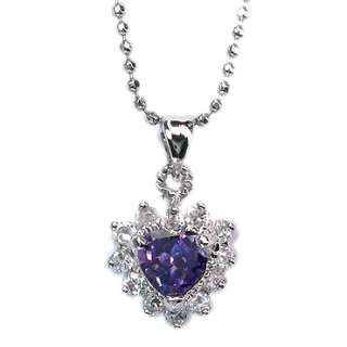 PURPLE AMETHYST WHITE GOLD 18GP PENDANT NECKLACE CHAIN