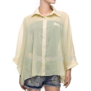 Fashion NEW Womens Chiffon Batwing Loose Shirt Asym Hem Blouse Ladies