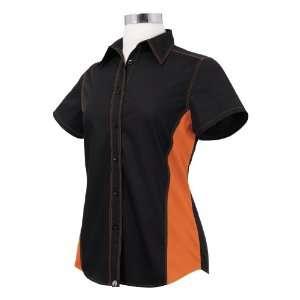 Chef Works CSWC BLO XL Women Universal Contrast Shirt, Black / Orange