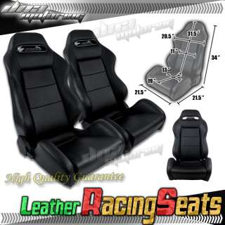 x2 PAIR 100% REAL BLACK LEATHER UNIVERSAL RACING SEATS/SEAT+SILDERS