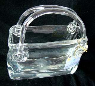 Hand Blown Clear ART Glass Vase / Bowl ~ Handbag or Womans Purse w