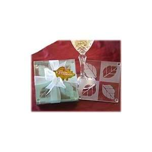 Fall in Love Frosted Leaf Design Glass Coaster Set