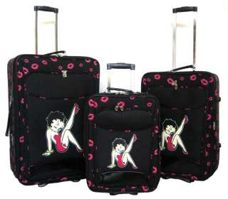 Piece Luggage Set Travel Bag Rolling Wheel Betty Boop