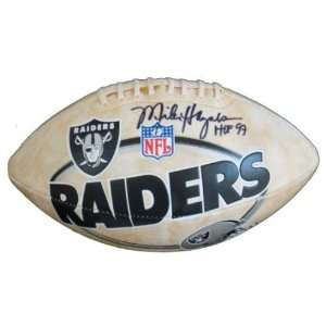 Michael Haynes Autographed Football   Oakland Raiders Logo