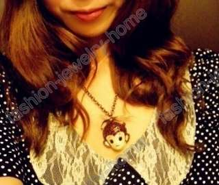 Charming Crystal Cute Big Mouth Monkey Bowknot Necklace