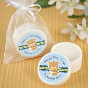 Baby Boy Teddy Bear   Personalized Lip Balm Baby Shower