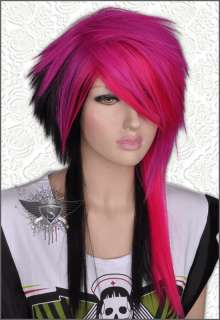 GW442 Cherry Red Mixed Spike Car Show Fringe Hair Wig