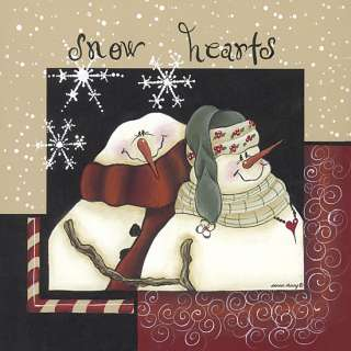Snow Hearts Couple Snowman Christmas Framed Picture Art