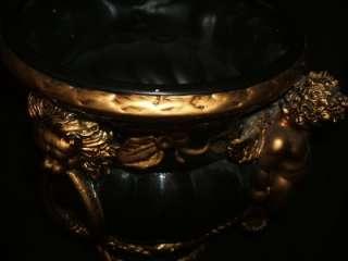 DECADENT Black & Gold CHERUB PLANTER Lion Head LARGE