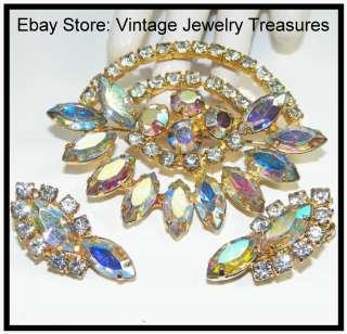 HIGH END Aurora Borealis Rhinestone Gold Pin & Clip Earrings