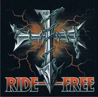 RIDE FREE Cross Rock Motorcycle Ride Tattoo Biker Shirt