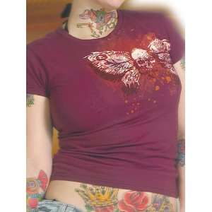 Juniors Tattoo Flash Art Skull Butterfly Small T shirt