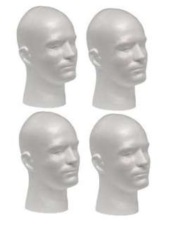 WHITE MALE (12 TALL) STYROFOAM MANNEQUIN WIG / HAT DISPLAY (4 heads