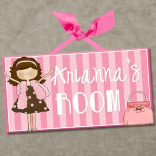 PERSONALIZED Kids Room Door Sign DIVA GIRLS   PINK BOA & PURSE Cute