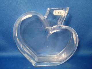 Kosta Boda Crystal Heart Shaped Bud Vase Handmade Sweden 4 Clear